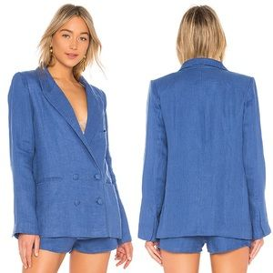NWT Lovers + Friends Blue Fanning Stripe Blazer
